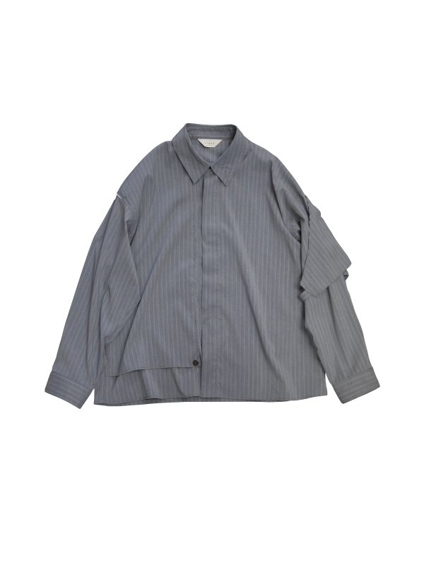 JieDa SILK STRIPE TRENCH SHIRT (GRY)