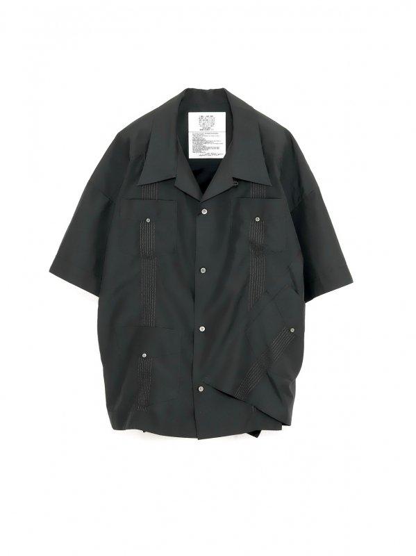 [30%OFF] elephant TRIBAL fabrics Out of alignment Cuban shirt (BLK)