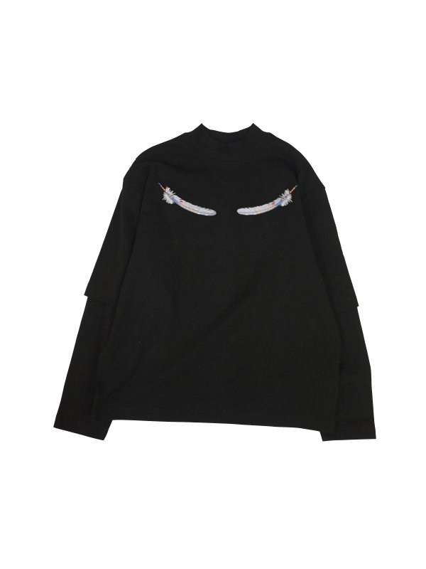 JieDa WING EMBROIDERY MOC NECK L/S T-SHIRT (BLK)