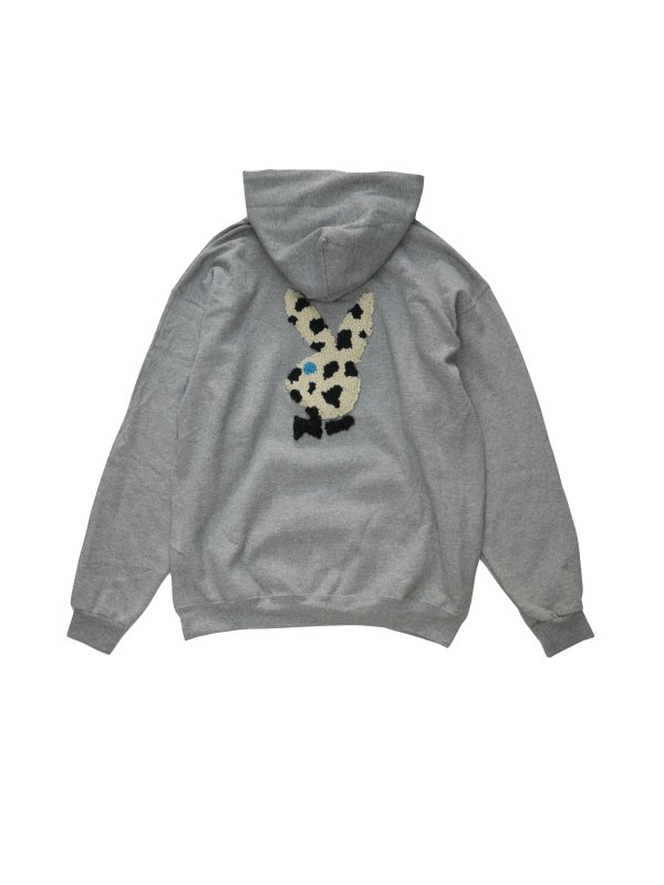 Iced Milk Tea Studio Knitted patch hoodie black spotted rabbit