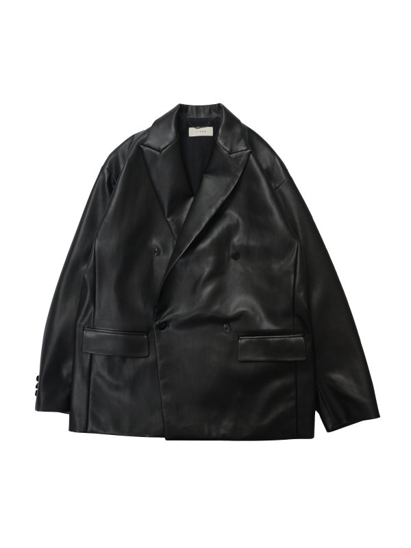 JieDa FAKE LEATHER DOUBLE TAILORED JACKET
