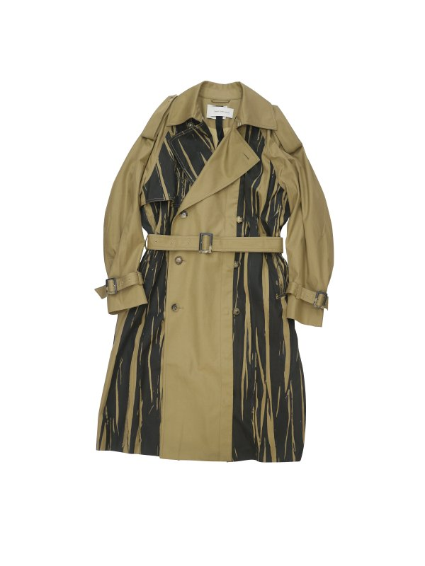 Feng Chen Wang COTTON BLEND PRINTED TRENCH COAT