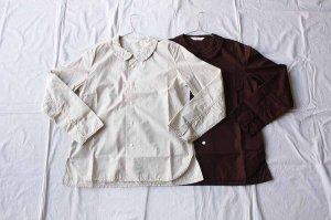 ■homspun ホームスパン  100/2 ブロード フラットカラー長袖BL