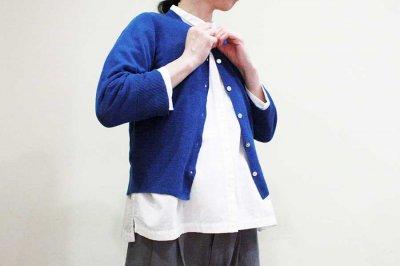 homspun ホームスパン リネン12G V/N 七分袖 CD col/ブルー