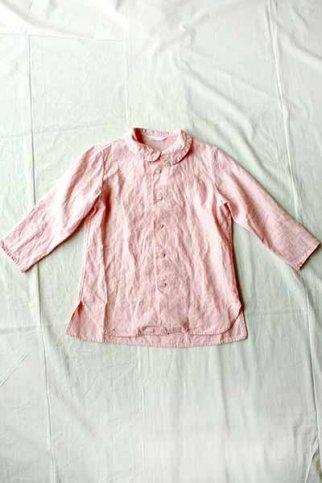 homspun ホームスパン リネンバイオ フラットC 七分袖 BL col.ピンク