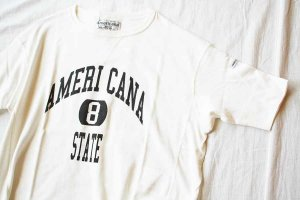 americana アメリカーナ REVERSE WEAVE S/S TEE(8 STATE) col/WHT