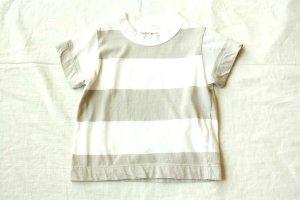 ■ homspun ホームスパン 30/-天竺 ボーダーKID'S Tシャツ col/サラシ×グレージュ