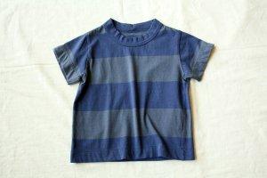 ■ homspun ホームスパン 30/-天竺 ボーダーKID'S Tシャツ col/ブルー×ブルーグレー