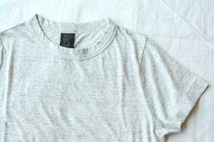 ■homspun ホームスパン 30/-天竺 半袖Tシャツ col/ 粗挽杢ライトグレー