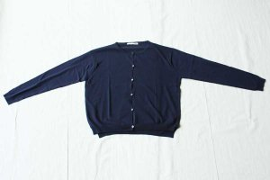 evam eva エヴァム エヴァ high gauge cotton cardigan col/ navy