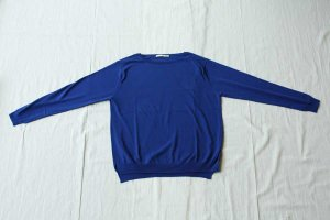 evam eva エヴァム エヴァ high gauge cotton pullover col/ Blue