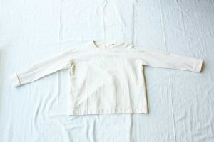 evam eva エヴァム エヴァ cotton silk turn back cuffs pullover col/ アイボリー