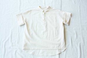evam eva エヴァム エヴァ cotton silk turn back cuffs shirts  col/ アイボリー