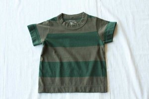 ■homspun ホームスパン 30/- 天竺太ボーダー KID'S 半袖 Tシャツ col/  オリーブ×グリーン
