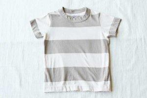 ■homspun ホームスパン 30/- 天竺太ボーダー KID'S 半袖 Tシャツ col/  ベージュ×ライトベージュ