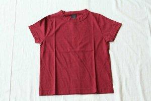 ■homspun ホームスパン 30/天竺 半袖Tシャツ  col/  エンジ