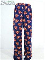 メンズパンツ古着 スーパーマンSUPERMAN ロゴ総柄 フリース生地 イージーパンツ(パジャマパンツ) 紺