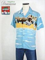 古着 シャツ 80s USA製 CAMPUS ピクチャー風 開襟 レーヨン アロハ (ハワイアン) シャツ M 美品!! 古着