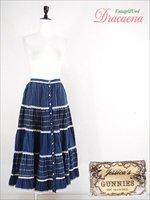 スカート古着70年代ヴィンテージGUNNIES(ガンネサックス)ネル生地ティアードスカート紺ロング丈