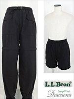古着 パンツ エルエルビーンL.L Bean 2WAYナイロンパンツ ショートパンツにも 黒 ブラック 古着