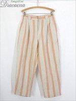 古着 パンツ 90s 淡色 太ピッチ ストライプ デザイン リネン スラックス パンツ 3タック テーパード W30 L29 古着【shop】