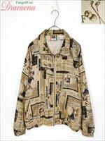 レディースジャケット古着 GOLF ロゴ レトロ ニュースペーパー風 シルク ブルゾン フルジップ ジャケット ベージュ