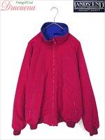レディースジャケット古着 USA製 LANDS END ランズエンド ショッキングピンク × ブルー ナイロン フルジップ ジャケット