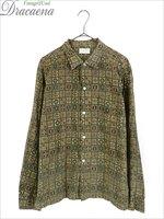 古着 シャツ 60s Custom Tailored 小紋柄 総柄 オールド ボックス コットン シャツ L 古着