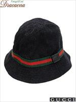 古着 帽子 イタリア製 GUCCI グッチ GG ブラック キャンバス モノグラム 総柄 バケット ハット 黒 M 古着