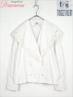 レディースジャケット古着 ガーリー フェミニン レース装飾 白 コットン 長袖 セーラーカラー ダブル ジャケット