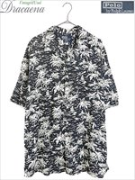 古着 シャツ POLO Ralph Lauren ラルフ モノトーン 南国 総柄 開襟 レーヨン アロハ ハワイアン シャツ 半袖 XL 古着