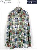 古着 シャツ Ralph Lauren ラルフ ポニー ワンポイント 刺しゅう カラフル コットン パッチワーク 長袖 BD シャツ XL 古着