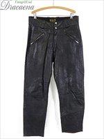 古着 パンツ 60s BROOKS ブルックス オールド 本皮 レザー ライダース パンツ スリム 黒 W36 L29.5 美品!! 古着