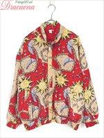 レディースジャケット古着 レトロ 洋風 太陽 月 赤 シルク フルジップ ブルゾン 長袖 ジャケット L オーバーサイズ