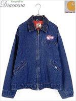 古着 ジャケット 80s USA製 Carhartt 裏地キルティング デニム ワーク デトロイト ジャケット 46 大きいサイズ 古着