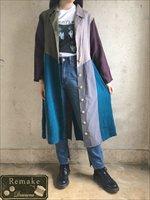 リメイク古着 レディース 個性的 リネン パッチワーク風 ダークトーン 紫 長袖 テーラードカラー ジャケット 羽織り ガウン