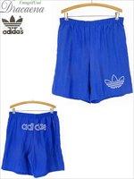古着 ショーツ 80s adidas BIG ロゴ & トレフォイル 刺しゅう ナイロン ショーツ ショート パンツ L 古着 【shop】