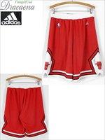 古着 ショーツ adidas製 Chicago BULLS ブルズ NBA メッシュ ショーツ ショート パンツ L ジョーダン 古着