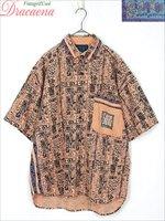 レディースシャツ古着 サーフ 壁画 民族文字 イラスト サーモンピンク コットン 半袖 シャツ L 大きめ