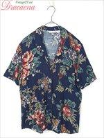 レディースシャツ古着 USA製 大花柄 クラシカル ガーリー 紺 ネイビー レーヨン 半袖 開襟 シャツ
