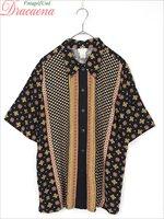 レディースシャツ古着 宝石 ビジュー ラグジュアリー 黒 レーヨン スリット入り ゆったり 半袖 シャツ L