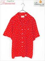 レディースシャツ古着 Liz claiborne リズクレイボーン ドット カジュアル レトロ 赤 トリアセテート 半袖 シャ…
