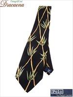 古着 雑貨 USA製 Polo Ralph Lauren ラルフ 竹 総柄 シルク ネクタイ 黒 雑貨 古着