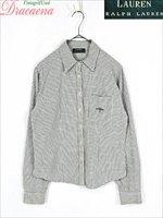 レディースシャツ古着 LAUREN RALPH LAUREN ラルフ カジュアル チェック 白 ワンポイント ロゴ 長袖 シャツ