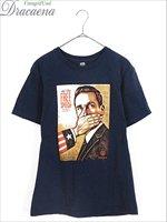 古着 Tシャツ OBEY オベイ ユニーク プリント 100% コットン オールド Tシャツ 紺 S ブランド 古着