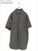 古着 ヴィンテージ 40-50s BIG MAC マチ付き 黒シャン ブラック シャンブレー 半袖 ワーク シャツ 15 1/2位 古着