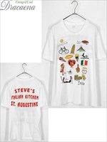 古着 Tシャツ USA製 イタリア 名物 ポップ カルチャー 両面 プリント Tシャツ 白 XL 古着