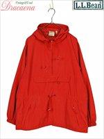 レディースジャケット古着 L.L.Bean アウトドア カジュアル赤 ナイロン アノラックパーカー ジャケット S
