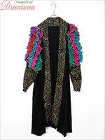 レディースガウン古着 USA製 個性的 派手 衣装 ラッフル フリル 袖 刺繍 黒 ストレッチ 長袖 ガウン 羽織 M位