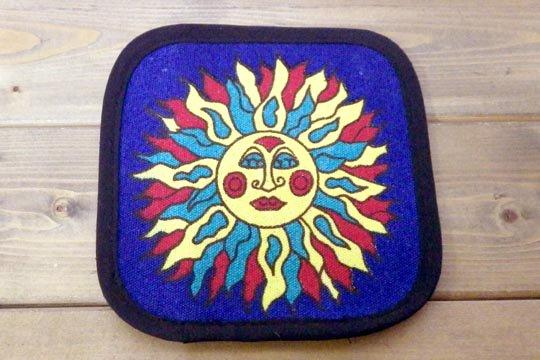 太陽 お日様 デザイン キャンバス生地 コースター